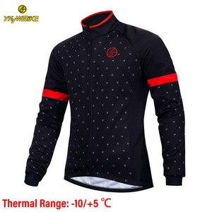 Image 1 - YKYWBIKE الدراجات سترة الرجال الشتاء ملابس مضادة للماء الحرارية جاكيت من الصوف طويلة الأكمام عالية الجودة مع 10 درجة مئوية المدى