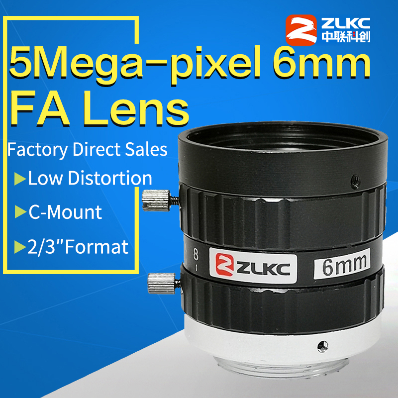 5MegaPixel C Mount 6mm FA Machine Vision Fixed Focal Length Lenses Industrial Camera Manual  Iris CCTV Lens Low Distortion
