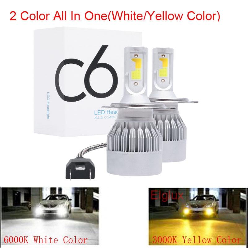 Super Bright Auto H7 H11 LED Car Headlight 9006 H1 H3 9005 880 881 H27 H4 LED Dual Color Headlight Kit 3000K 6000K