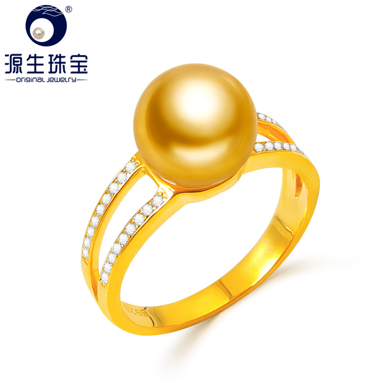 YS Fashion Design 925 Sterling Silver Ring 9-10mm Natural Gold Saltwater South Sea Pearl Fine Jewelry