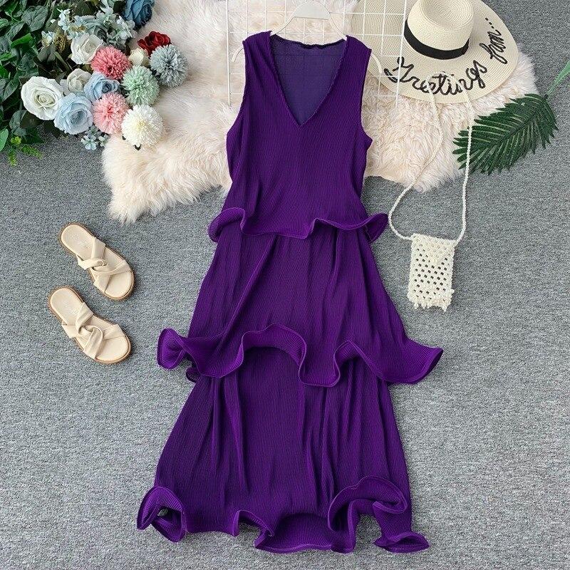 Летнее пляжное женское плиссированное платье без рукавов с рюшами, свободное Макси платье для женщин размера плюс, модная одежда, шифоновое платье - 5