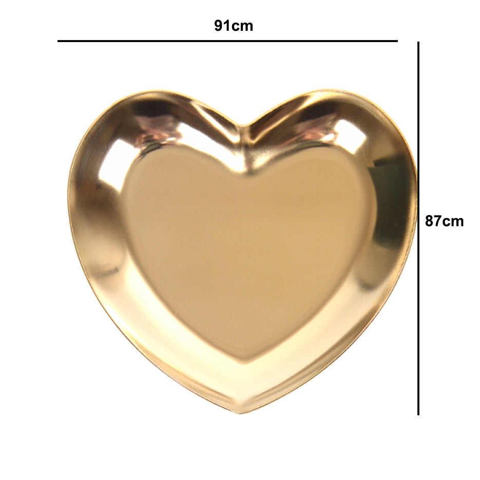 A forma di cuore Dei Monili del Piatto Nordic Ins Gioielli In Oro Anello Vassoio di Metallo Dei Monili di Visualizzazione di Stoccaggio Vassoio Decorativo Piatto Amore