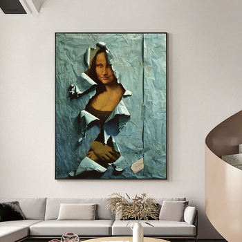 The Famous Mona Lisa Spoof Painting Printed on Canvas 4