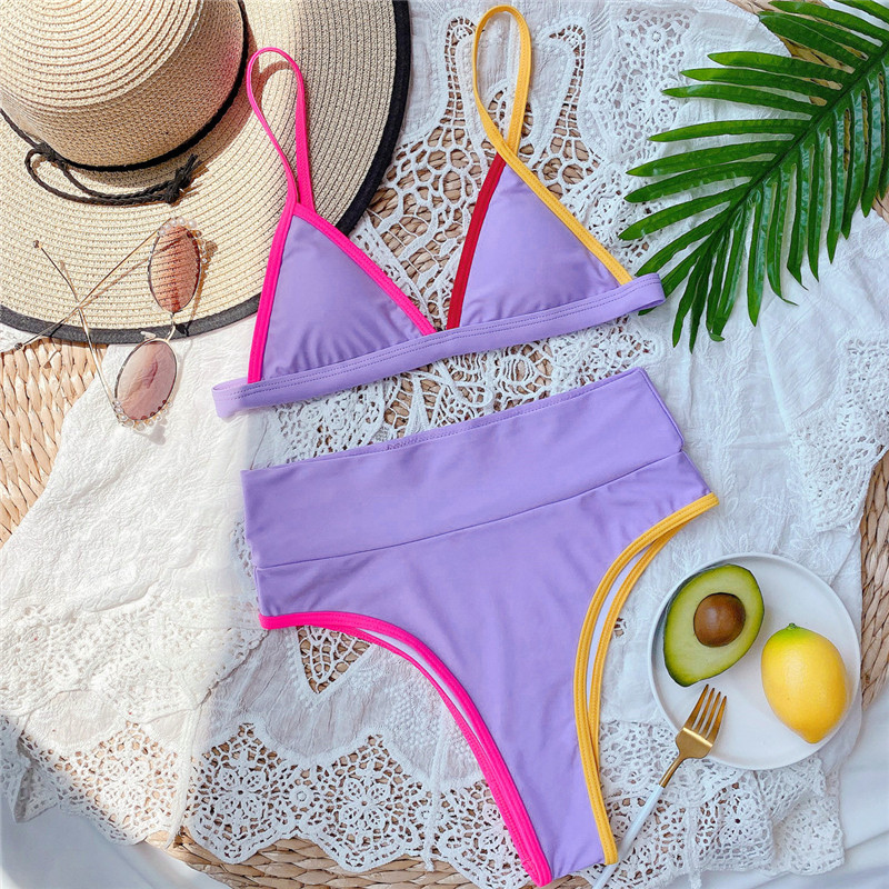 Para Praia High Waist Swimsuit Women Patchwork Swimsuit Push Up Bikini Set Sexy Print Bikini Vintage Bathing Suit for Women 6
