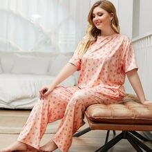 Женский пижамный комплект удобные свободные брюки с коротким