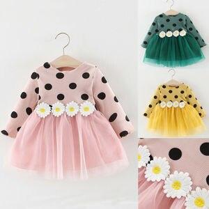 Платье с длинными рукавами для новорожденных девочек от 0 до 3 лет праздничное Пышное Платье-пачка в горошек для девочек, розовое синее сваде...