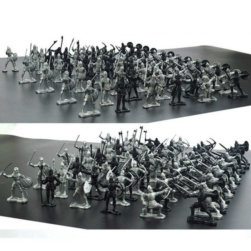 60Pcs//Set Middle Ages Military Soldier Toys Model Figures Children Play Gifts