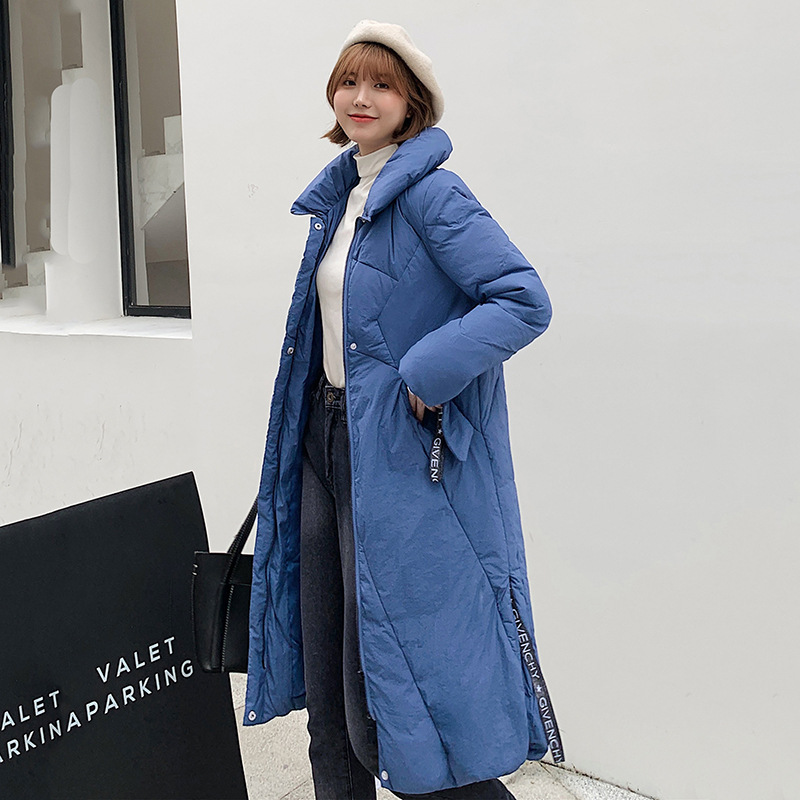 2019 New Winter   Down   Jacket Thick Slim White Duck   Down     Coat   Long-sleeved Stand Collar Long Loose Women Outerwear Cc111
