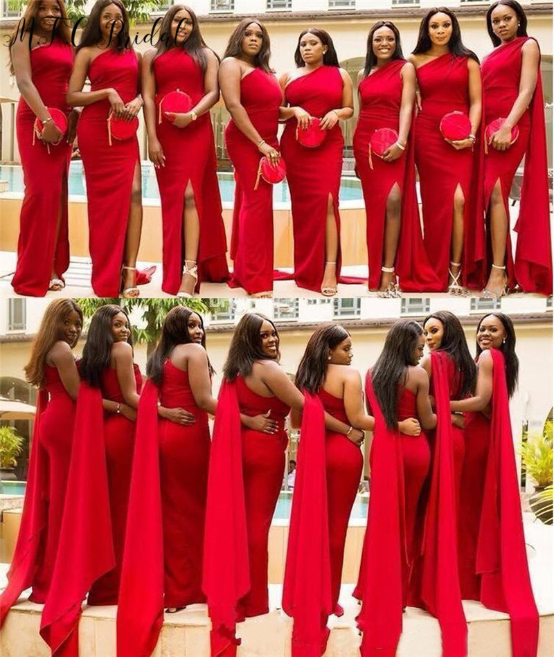 Wholesale Price One Shoulder Red Long Bridesmaid Dresses 2019 Sexy Side Slit Floor Length Elastic Satin Maid Of Honor Dress