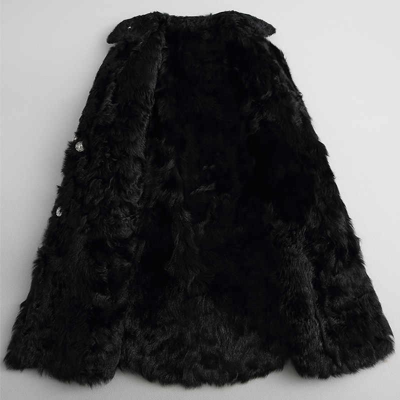 Женское пальто с натуральным мехом, новинка 2019, модная куртка с подкладкой из натурального овечьего меха, твидовые шерстяные пальто, толстые теплые зимние куртки, Женская парка, Топ