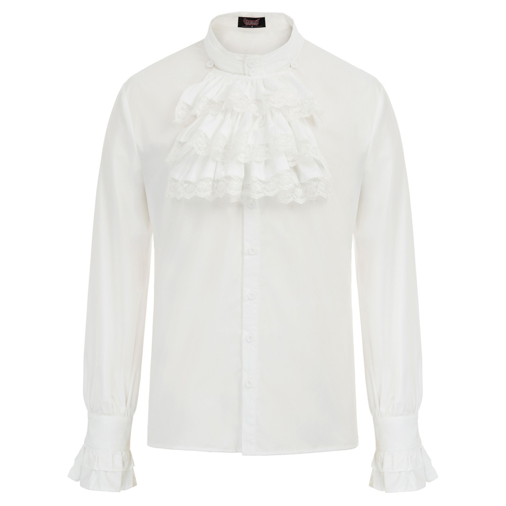 Fall Mens Gothic Steampunk Long Sleeve shirts party wedding retro classic solid Stand Collar Jabot Decorated Shirt Tops blouse