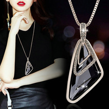 Fashion Golden Silver Alloy Color Grey Stone Triangle Pendant Necklace For Women New  Sweater Chain Shopping Party Jewelry elegant triangle alloy shirt collar tips necklace silver