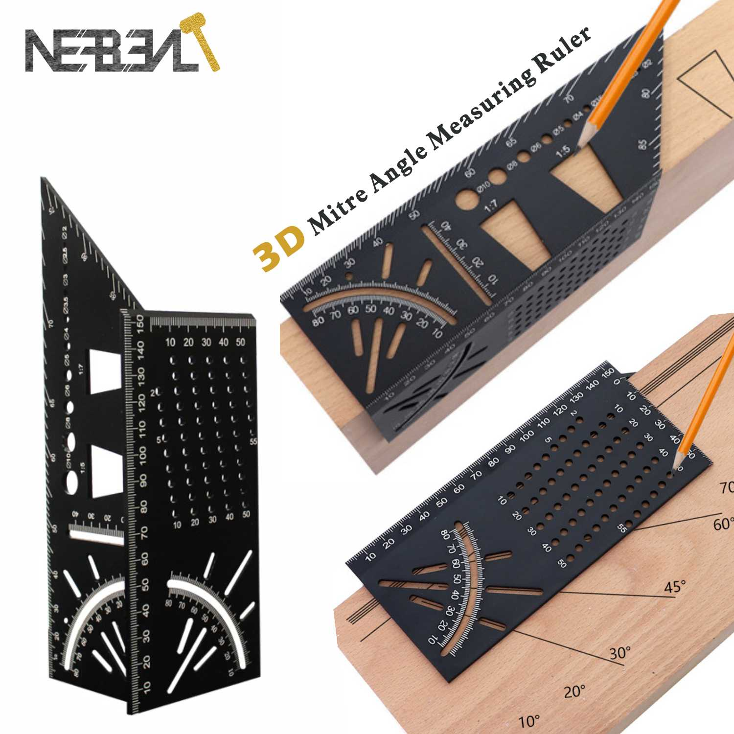 45+90 Degree WoodWorking Ruler Square Scribe 3D Mitre Angle Measuring Measure Tool with Gauge and Ruler Convenient