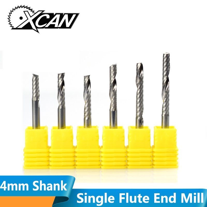 XCAN 1pc 4mm Shank 1 Flute Spiral Carbide End Mill CNC Engraving Router Bit Staight Shank Single Flute Milling Cutter