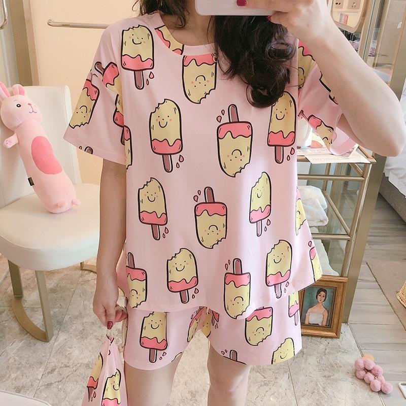 Female Cotton Pajamas Ins Hot Sale Fashionable Pyjamas For Girls Casual Home Suits Loose Comfortable Night Sleepwear