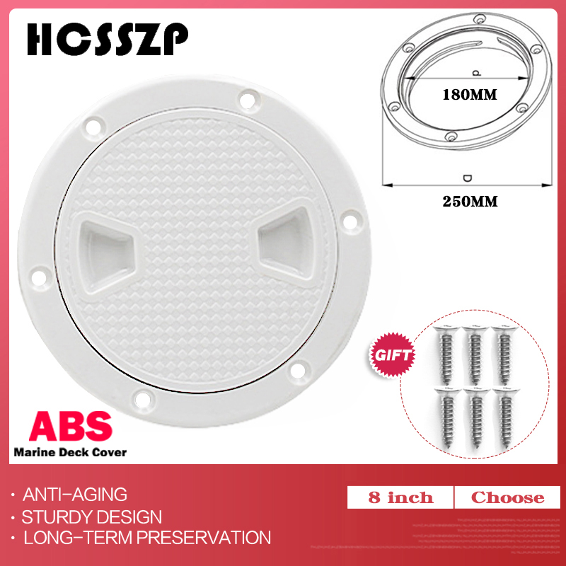 8 inch Marine Inspection Deck Hatch Cover ABS White Round Tight Screw out Anti corrosive Deck plate for Boat Yacht Motor homes-in Marine Hardware from Automobiles & Motorcycles