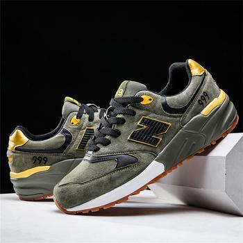 Novo high-end couro sapatos de equilíbrio esportivo masculino e feminino, sapatos de corrida ao ar livre elegantes, sapatos de corrida casuais legal 1