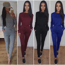 Women's Ladies Fashion Solid Color Long Sleeve Round Neck Casual Tracksuit Rompers Set Hoodies