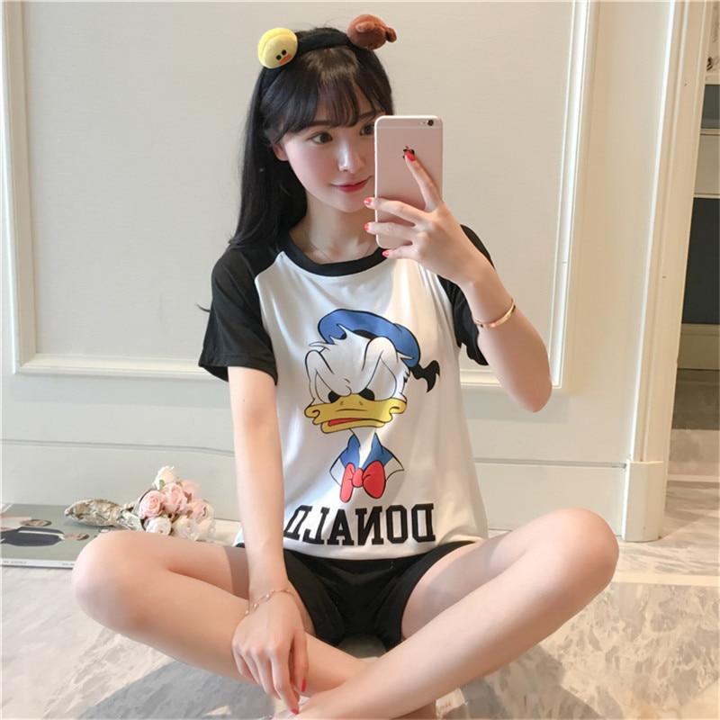 Short Sleeve Pajamas Women's Summer Cute Cartoon Thin Mickey Donald Duck Shorts Spring And Summer Days Home Wear Two-Piece Set