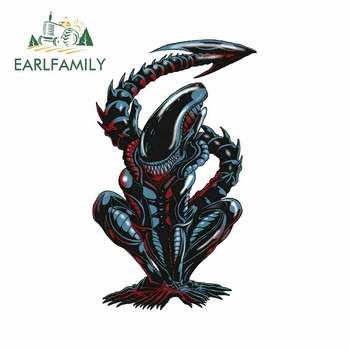 EARLFAMILY 13cm x 8.5cm For Alien Xenomorph Car Bumper Window Stickers Refrigerator Decal Decor Air Conditioner For SUV JDM VAN image