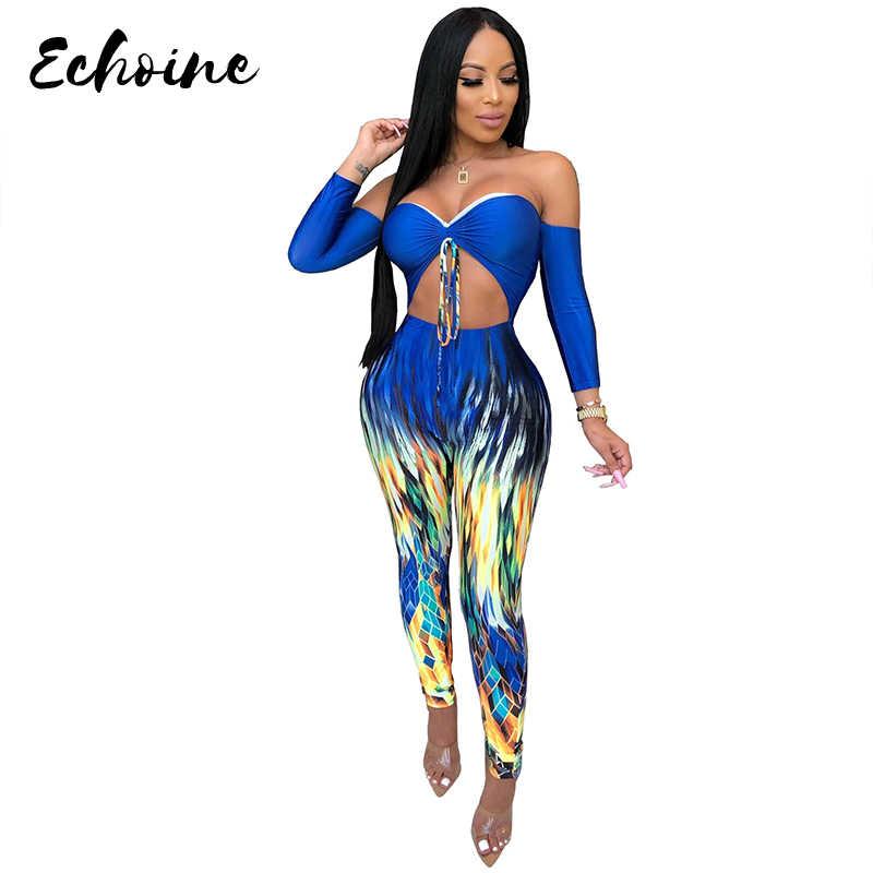 Echoine เซ็กซี่คอ Slash แขนยาว Tie Dye สีสันพิมพ์ Jumpsuit ผู้หญิงฤดูใบไม้ร่วงฤดูใบไม้ร่วงฤดูใบไม้ร่วงฤดูใบไม้ร่วงฤดูใบไม้ร่วงฤดูใบไม้ร่วงฤดูใบไม้ร่วงฤดูใบไม้ร่วงฤดูใบไม้ร่วงขนาด Skinny Overalls ชุด