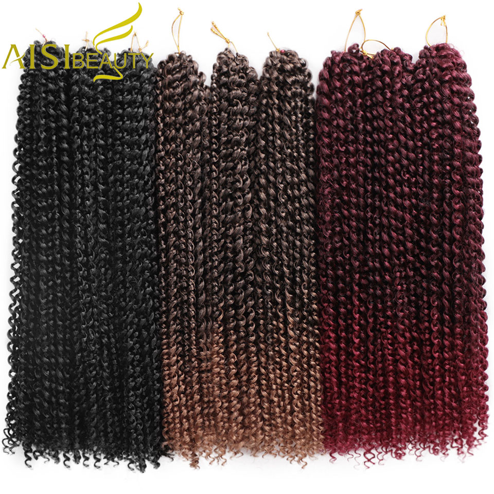 AISI BEAUTY Passion Twist Hair Ombre Blonde Water Wave Bohemian Braid Freetress 18inch Crochet Braiding Synthetic Hair Extension