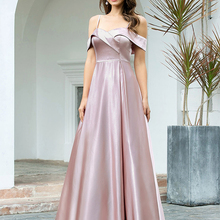 Prom-Dresses Spaghetti-Straps Party-Gowns Ever Pretty Satin Off-Shoulder Sexy V-Neck
