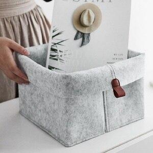 Войлочная тканевая корзина для хранения с кожаной ручкой, переносная корзина для хранения игрушек, настольные коробки для хранения закусок...