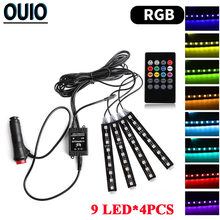 1 Set Car RGB LED Strip Light Bar Decorative Atmosphere Lamps Lights Colors Styling Interior With Remote 12V