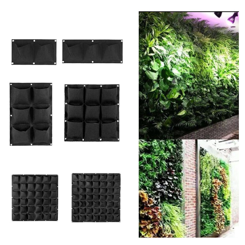 4 9 25 72 pocket vertical garden wall plant Grow Bags Planting black Hanging Planter pots tools fabric flower indoor home jardin