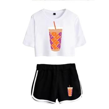 New Charli DAmelio Ice Coffee Splatter Women Two Piece Set Shorts+lovely T-shirt Sexy charli damelio merch Sport suit Girl 13