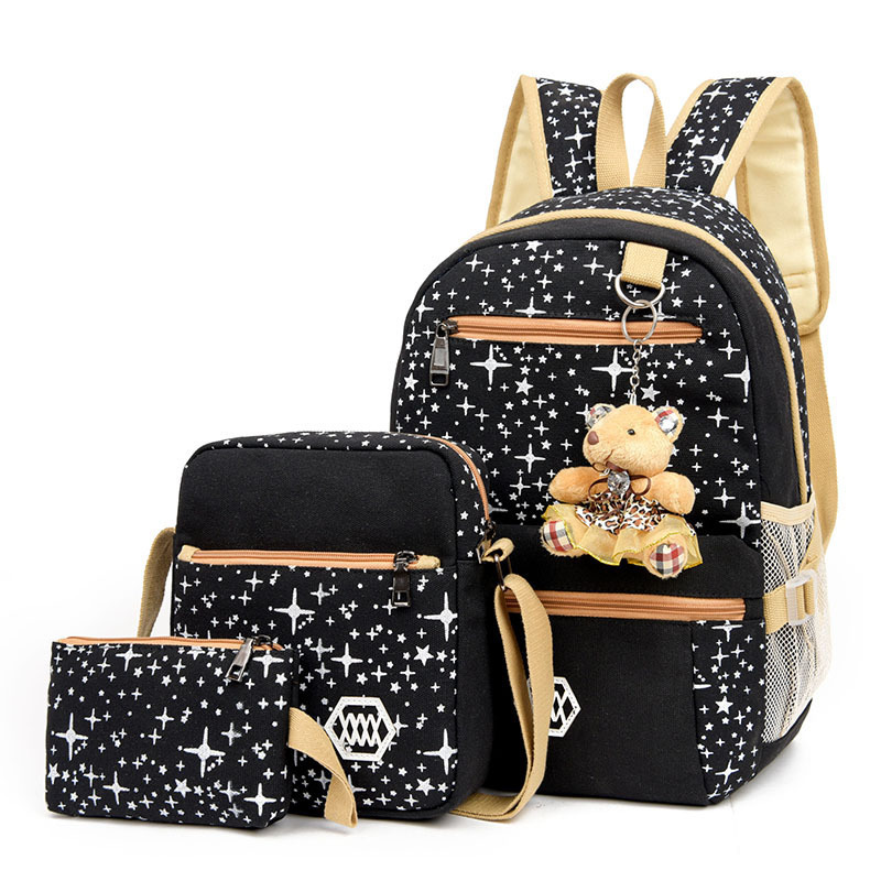 A Three-piece Luggage& Bag Casual Travel Pack Women Canvas Backpack Schoolbag School Bag For Girl Teenagers Rucksack