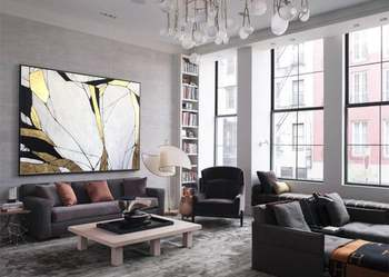 Large Abstract Painting Gold Leaf Painting Gray Painting Texture Art Abstract Acrylic Painting On Canvas Living Room Wall Art