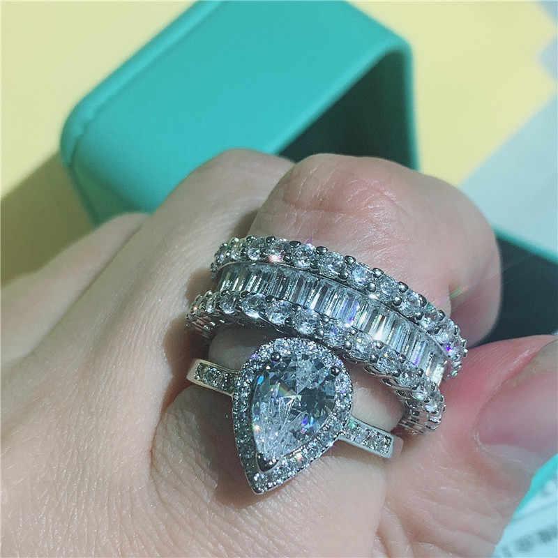 Choucong déclaration femme promesse anneaux ensembles AAAAA cz 925 en argent Sterling fiançailles bague de mariage anneaux pour les femmes bijoux de fête