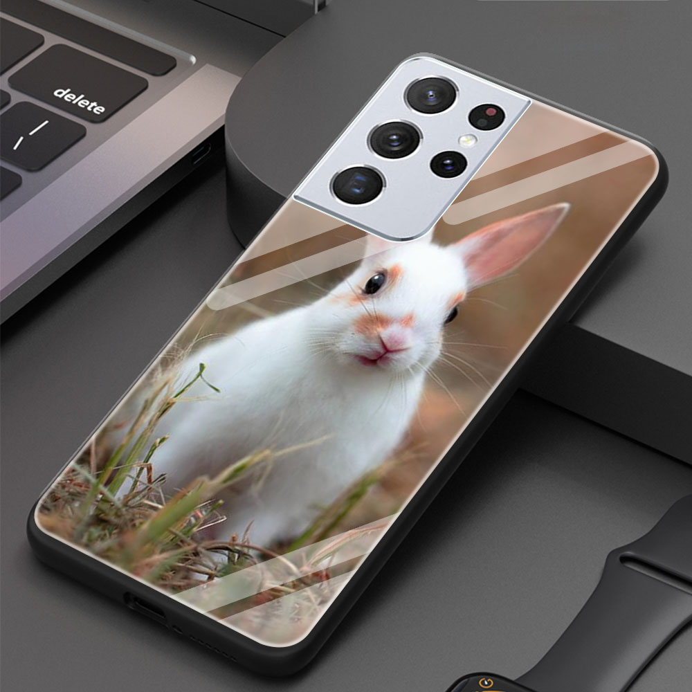 Lovely Animal Cute Rabbit Tempered Glass Phone Case For Samsung Galaxy S21 Ultra S20 FE S10 Plus S9 S8 S10e S10 Lite Cover Funda