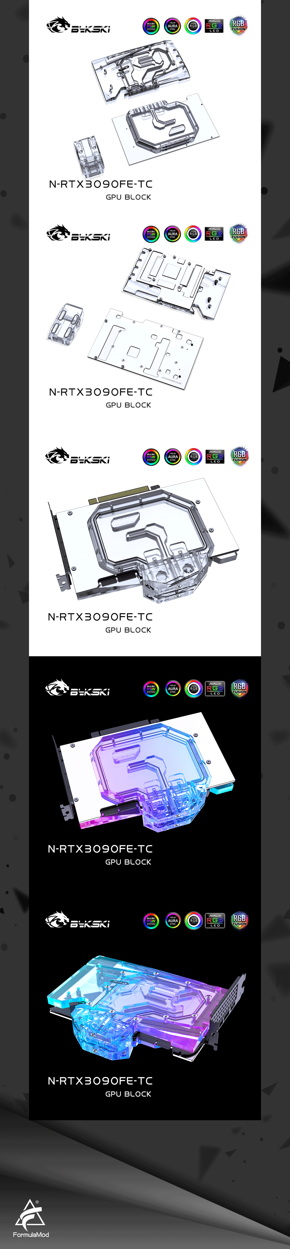 Bykski N-RTX3090FE-TC GPU Water Block with Waterway Copper Backplate Cooler For NVIDIA Geforce RTX 3090 Founders Edition