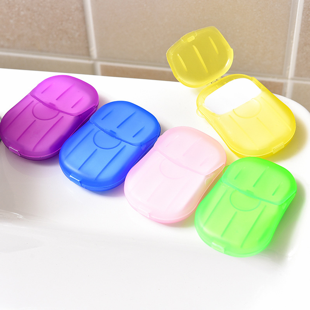 20Pcs Travel Soap Paper Washing Hand Slice Sheets Clean Scented Disposable Soap Portable Mini Paper Soap Randomly Send