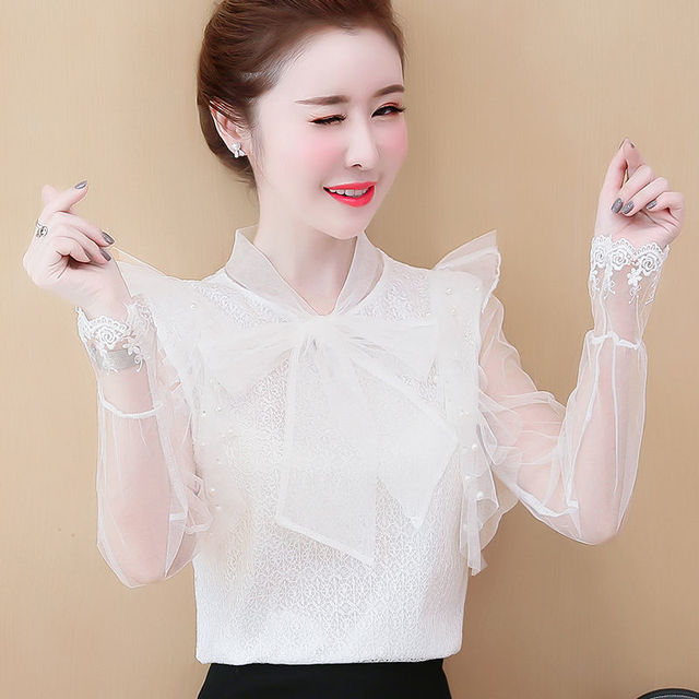 Women's Spring Summer Style Lace Blouses Shirt Women's Mesh Bow Solid Color Long Sleeve V-neck Elegant Tops SP054 2