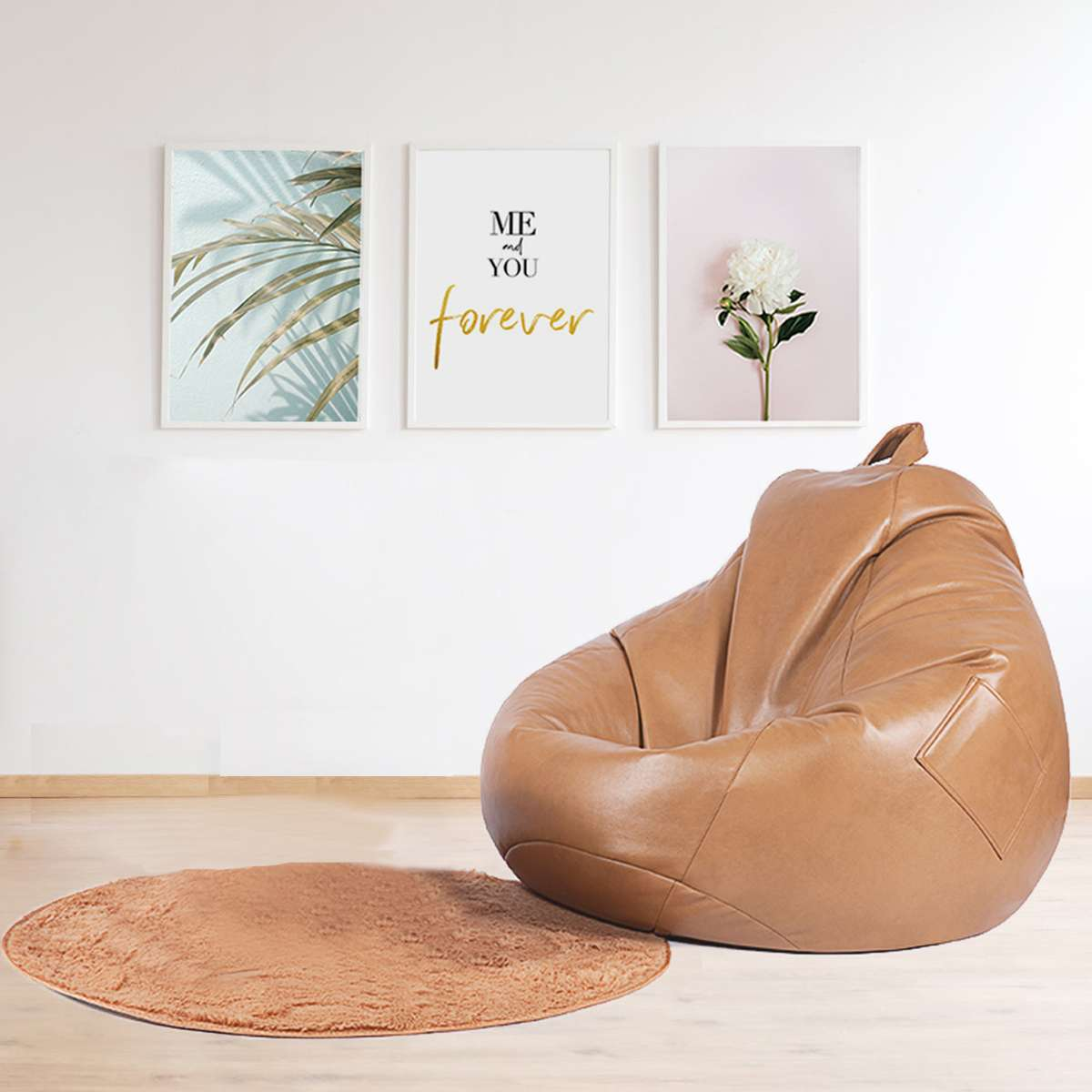 PU BeanBag Sofas Cover Chairs Without Filler Linen Leather Lounger Seat Bean Bag Puff Asiento Couch Tatami Living Room Furniture