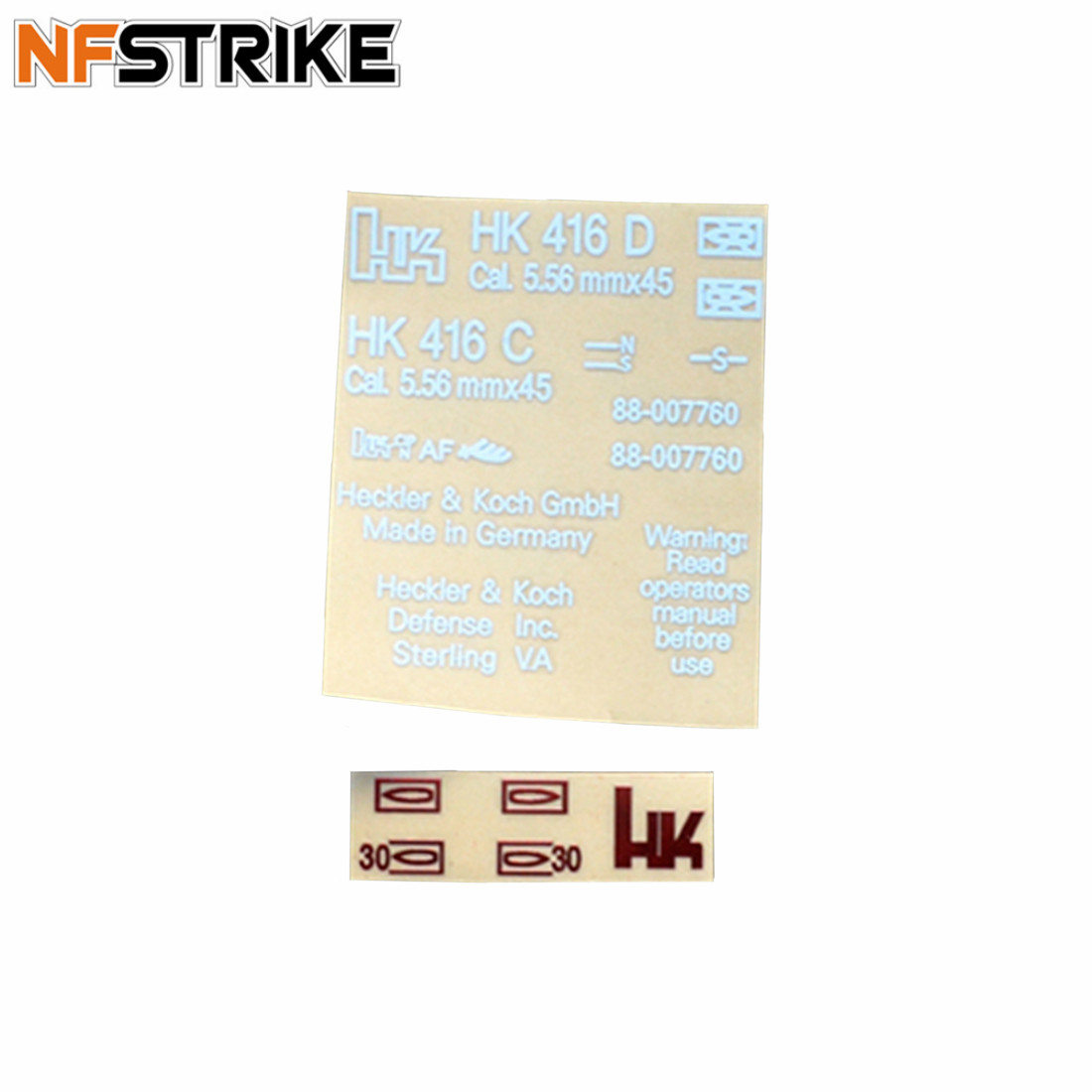 NFSTRIKE Receiver Sticker Metal Paster Decal For HK416 Receiver Water Gel Beads Blaster Tactical Accessories - White