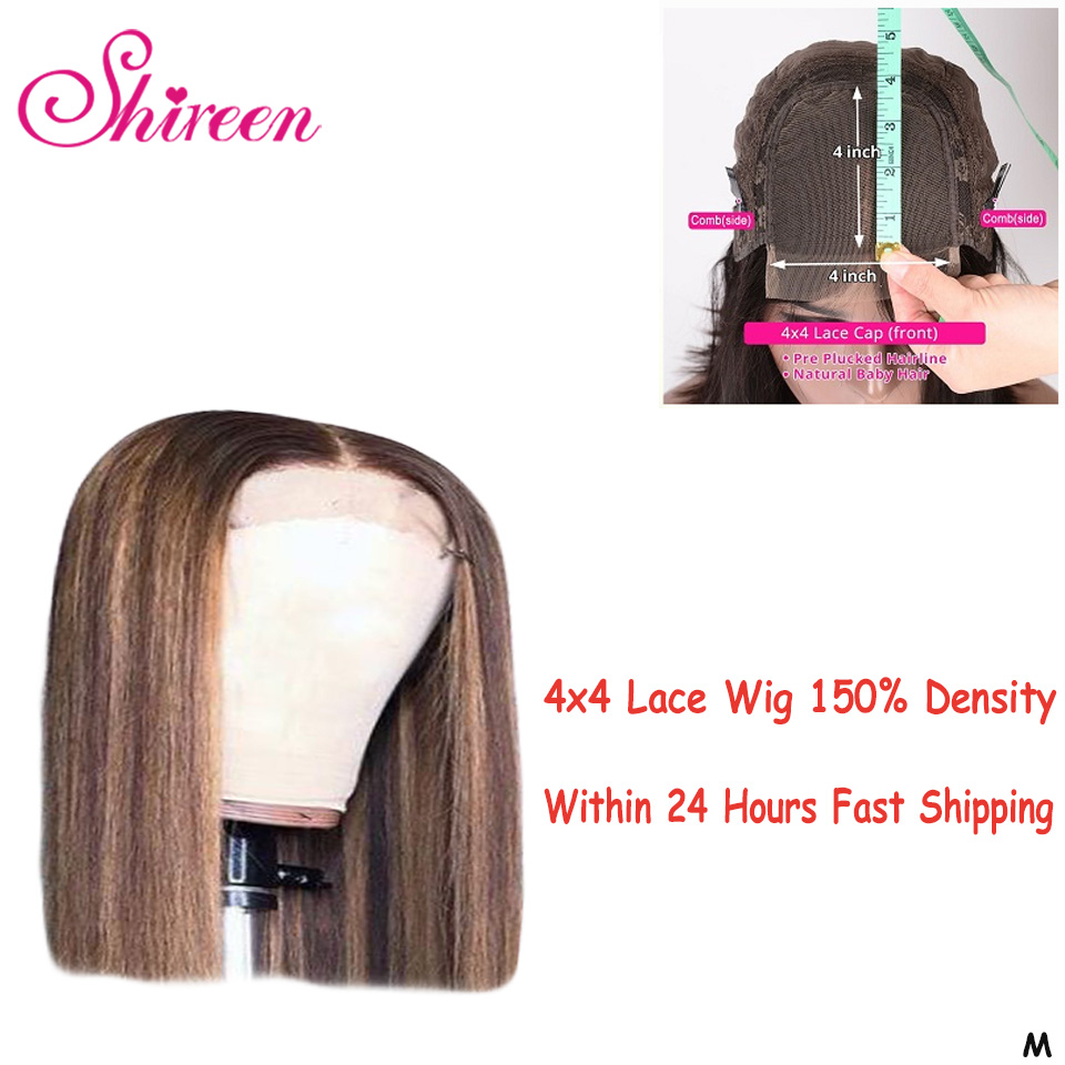 Shireen Short Bob Wig 4x4 Lace Closure Wig Highlight Wig Ombre Honey Blonde Brown Peruvian Remy Human Hair Wigs Pre-Plucked