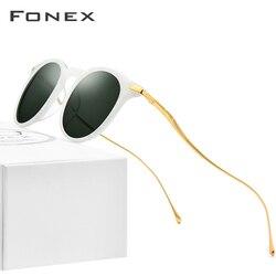 FONEX Acetate Titanium Sunglasses Men Vintage Round Polarized Sun Glasses for Women New High Quality Mirrored UV400 Shades 857
