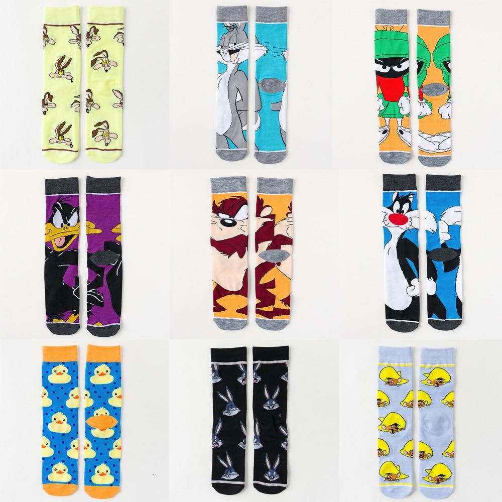 Men Stockings Happy Cartoon Cotton Unisex Fun Pattern Duck Bugs Bunny Mouse Dog Women Funny Socks Male Street Crew Soft Cozy
