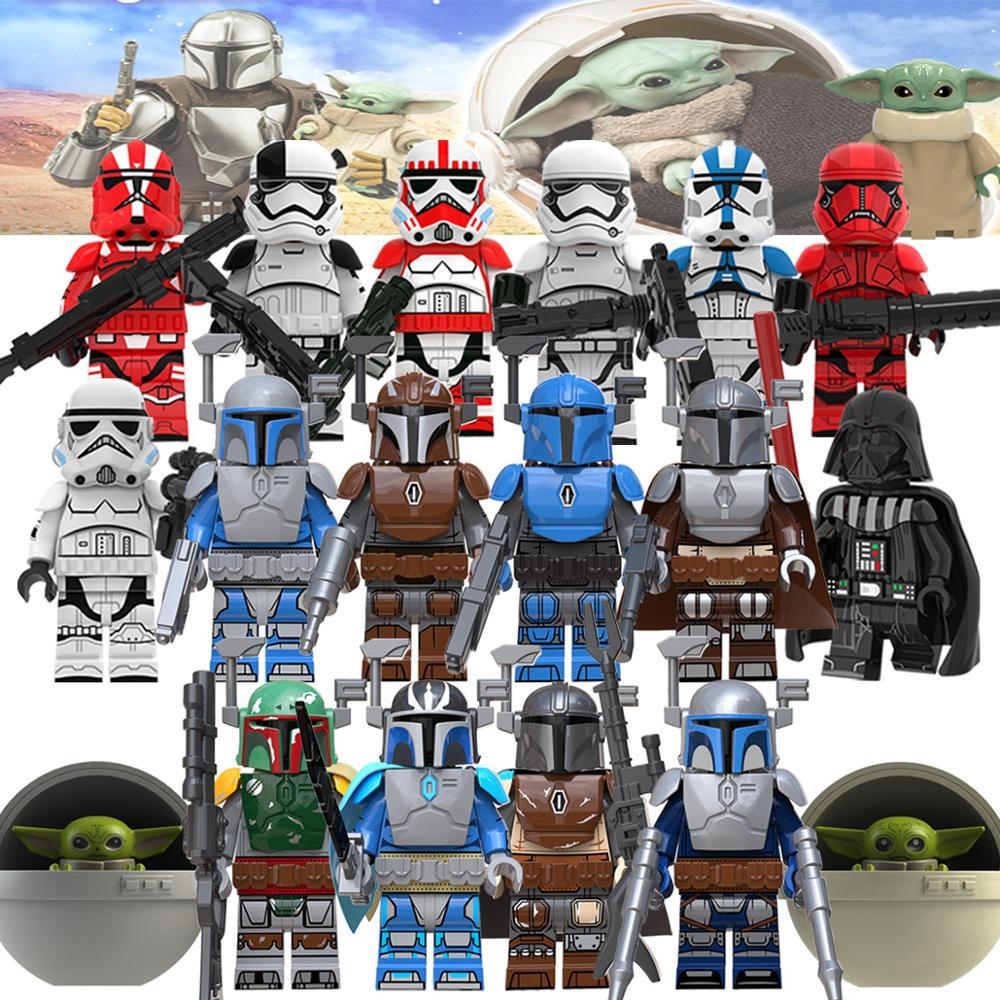 Single  Sell Star Wars Set  Mandalorian With  Baby Military  Luke  Maul Sith Malgus Han   Starwars Building Blocks Toys For Kids