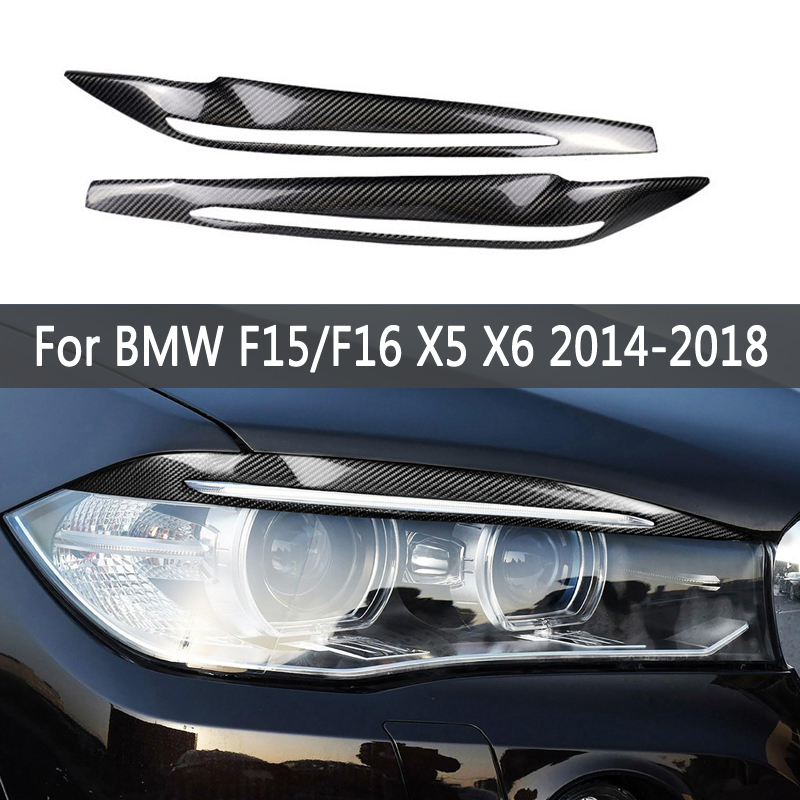 A Pair Carbon Fiber Decor Headlights Eyebrows Eyelids Trim Cover For BMW F15/F16 X5 X6 2014-2018 Accessories Car Light Stickers