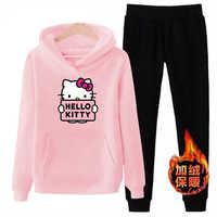 P66 3xl kitty hello-2019 invierno mujeres señoras 2 piezas de manga larga polar Sudadera con capucha conjunto suéter traje chándales ropa