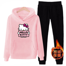 p66 3xl hello-kitty 2019 winter women ladies 2pcs long sleeve fleece hoodie Sweatshirts Set pullover Suit Tracksuits clothes
