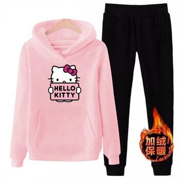 P66 3xl hello-kitty 2019 hiver femmes 2 pièces manches longues sweat à capuche polaire Sweatshirts ensemble pull costume survêtements