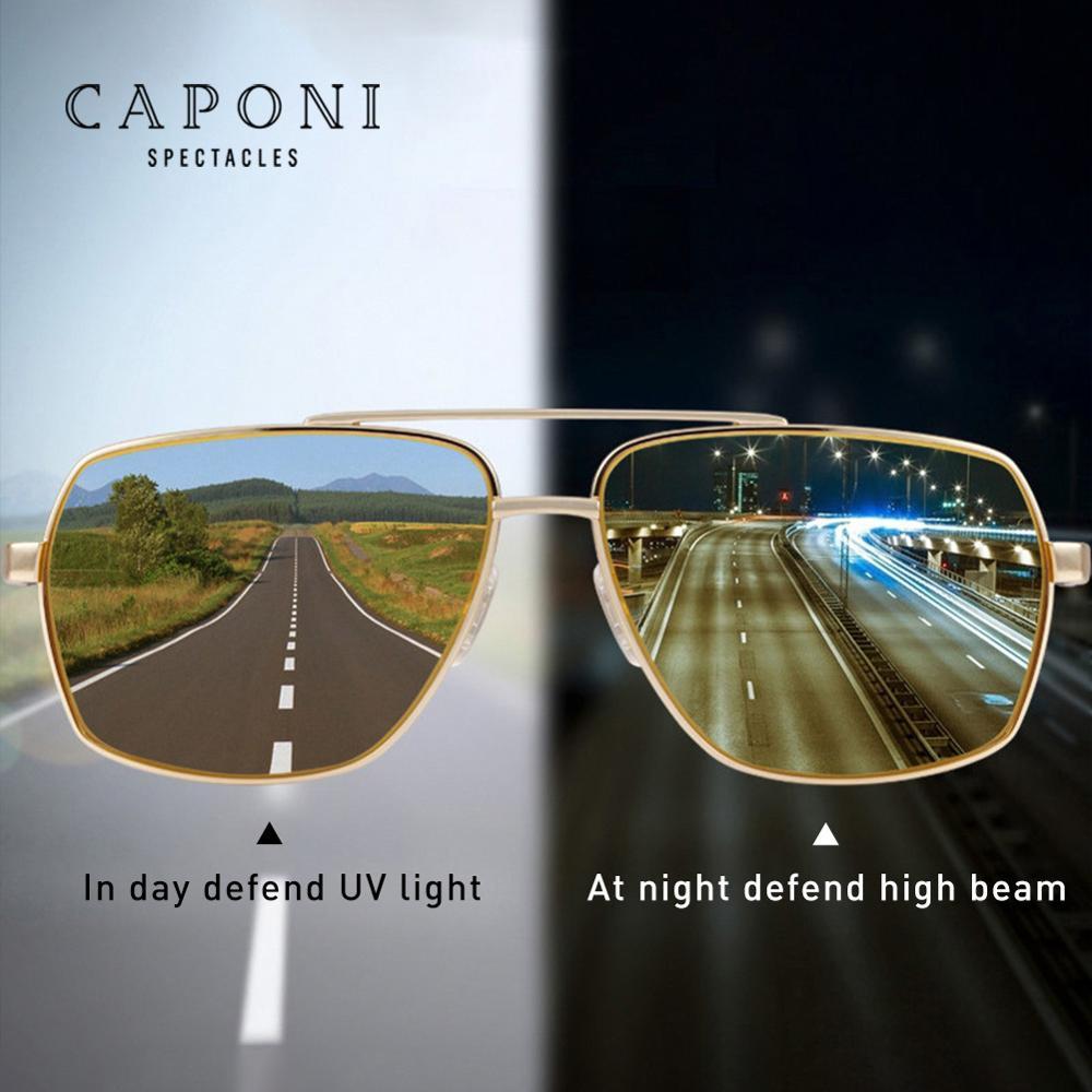 CAPONI Vintage Sunglasses Photochromic Polarized Fashion Eyewear For Men Square Night Vision Driving Sun Glasses UV400 BSYS8002
