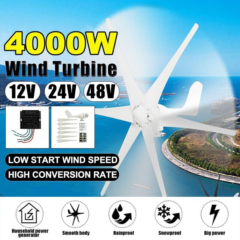 Option de lame noire blanche de générateur d'éoliennes de 4000W 12 V/24 V/48 V 6 lames avec le contrôleur de Charge de vent approprié pour la maison ou le Camping